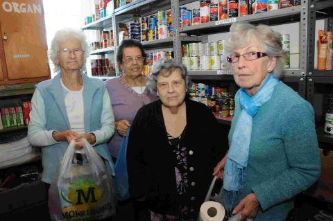 CRUCIAL ROLE: The food bank at Weymouth Baptist Church – Pauline Thompson, Doris Flack, Lily Mockett and Anne Craster