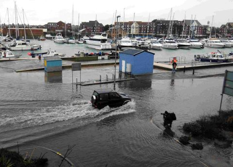 DELUGE: Floods hit Weymouth harbourside