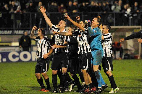 CUP CHEER: The Magpies celebrate after beating Plymouth Argyle in the first round of the FA Cup