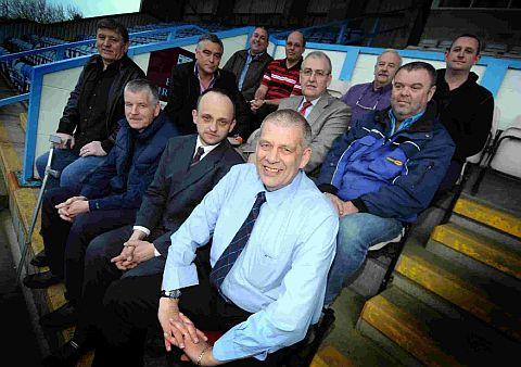 INTERIM BOARD: Back row, from left: Iain Stone, Pete Saxby, Dave Parsons, Ade McDonald. Middle row: Shaun Hennessy, Alan Pepperell, Mark Coleman. Front: Steve Taylor, Tony McDonnell, Ralph Ricardo and chairman Nigel Biddlecombe