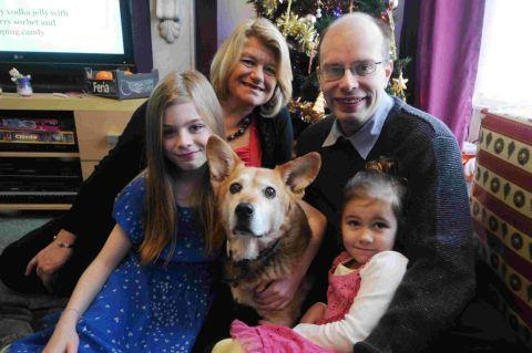 GOOD DOG: Chester safely returned home with Denise Dargan and Pete Goldman with Angel Goldman and Courtney Pearce
