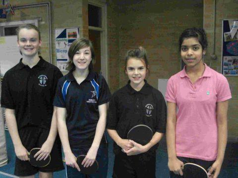 COUNTY UNDER-16 CHAMPIONS: A mixed team from Budmouth and All Saints' Schools came out on top in a team challenge at Avonbourne College. The line-up is, left to right: Bethan Jones, Lily Cherry, Molly McNern and Snigdha Maganti