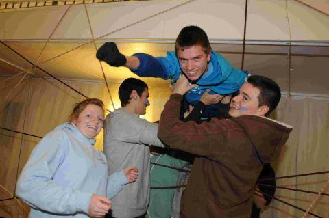 FLYING HIGH: Youngsters take part in an exercise at the team building event