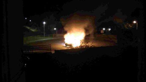 DANGER: The car blaze in Littlemoor