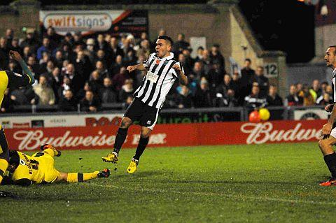 MEMORABLE GOAL: Jake Gosling scores the winner against Plymouth Argyle