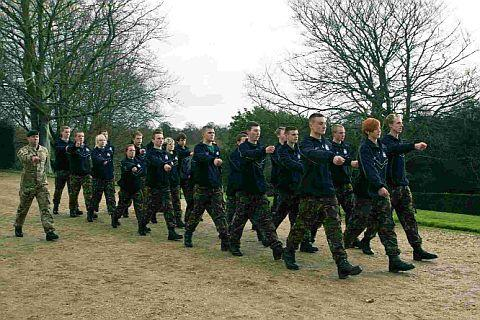 BY THE LEFT: Students take part in an army preparation course at Kingston Maurward