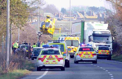 ROAD TRAGEDY: The scene on Weymouth Way after the accident in whch five-year-old Lily-Mae Jeffries died last March