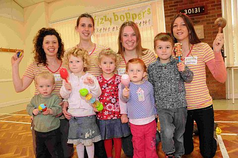 MUM'S THE WORD: Kim Sibley, Julia Dodds, Kelly Critchell and Georgie Easton with youngsters at the Fizzy Boppers class at Maiden Newton village hall