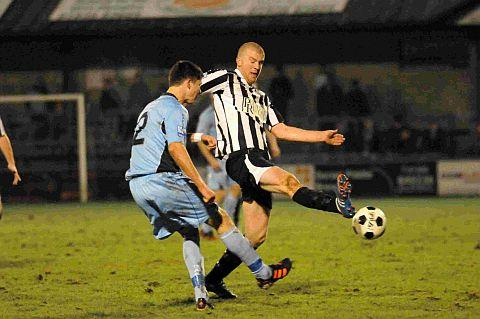 MAKESHIFT FORWARD: Charlie Clough in action against Dover last night