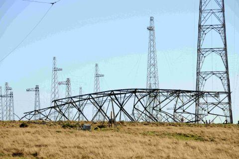 NO ONE RECEIVING: One of the radio transmitter masts at Rampisham is felled to be replaced by solar panels in a £100m development which will bring in up 70 full-time jobs