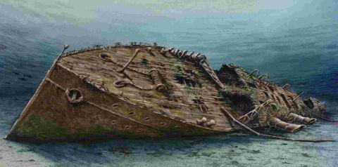 Artist's impression of the remains of the P&O liner Salsette in Lyme Bay
