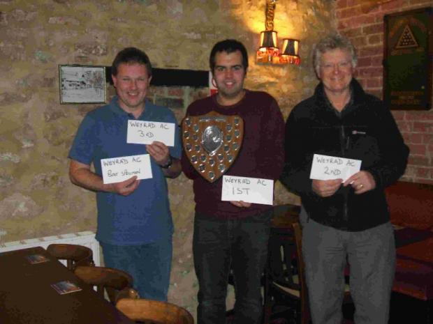 TOP THREE: Weyrad Angling Club's shore match champion John Burt, centre, with Terry Dell, right, and Kevin Turner, left