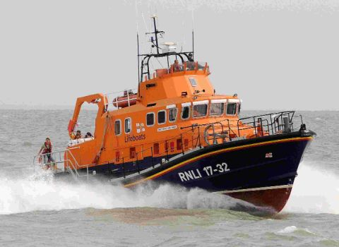 Thief steals lifeboat crewman's bike while he is out on a 'shout.'