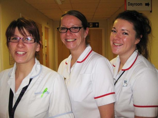 Prince of Wales Ward staff nurses Laura Peck, Jennie Fowler and Laura Ballard