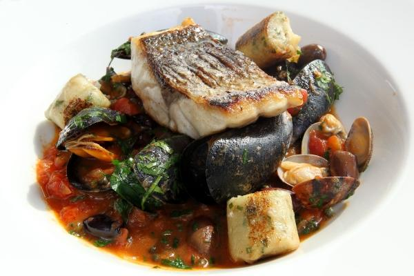 Alex Aitken's Sea Bass with Shellfish
