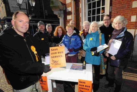 Councillor Andy Canning with Lib Dems petitioning to save bus services in Dorchester