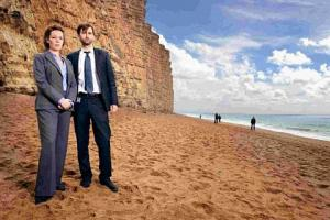 STARS: Olivia Colman and David Tennant in the ITV series Broadchurch filmed in West Dorset