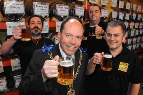 CHEERS: Mayor Andy Canning with Vic Irvine, Ben King and Richard Bates at the Beerex festival launch at the Corn Exchange in Dorchester 	Picture: GRAHAM HUNT/HG10451