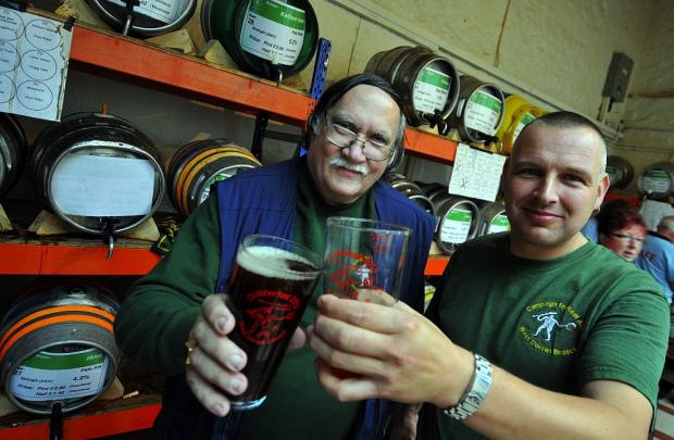 Michel Hooper-Immins (left) and Richard Gabe, of West Dorset CAMRA