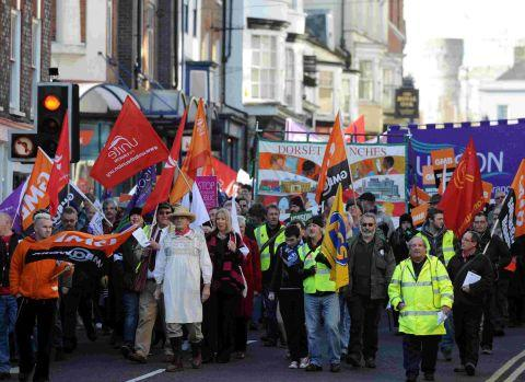 DEMO: Workers pictured at last year's public sector strikes
