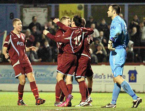 SCORCHER: Stephen Reed is congratulated after firing the Terras ahead