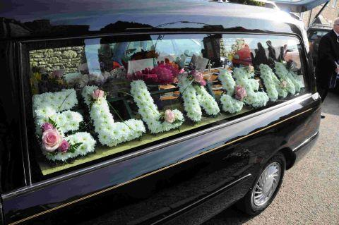 SUCH SADNESS: Ella Pallister's coffin arrives at St Peter's Church in Portesham
