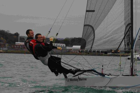 SERIES SUCCESS: Sam Pascoe and Alex Knight in their International 14 boat