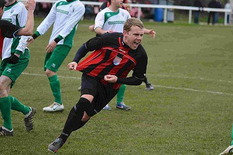 WISE UP: Dan Wise celebrates his opener for Bridport