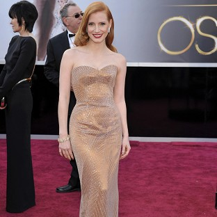Jessica Chastain on the Oscars red carpet