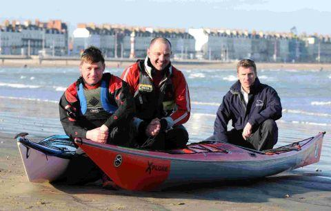 CHANNEL CROSSING:  David Chalstrey, left and Barry Ashdown who will canoe across the channel with the support of Sean Vinicombe of Solent Charters, right