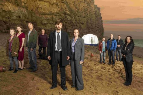 The cast of ITV Drama Broadchurch on the beach at West Bay. Photo credit ITV Drama.