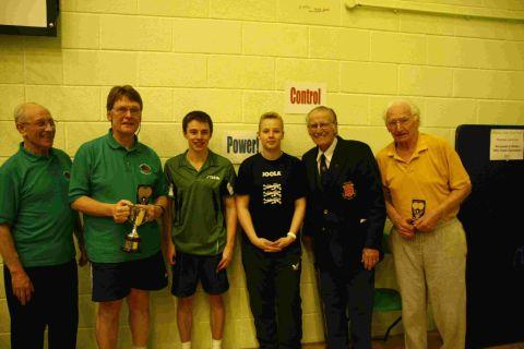 VETS LINE-UP: Dave Clegg just pipped league stalwart Norman Badcock to the handicap veterans' singles crown. Clegg is pictured second from the left and Badcock, far right