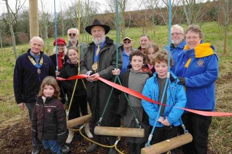 Mayor Dave Rickard opens the new play trail at Allington Hill, Bridport