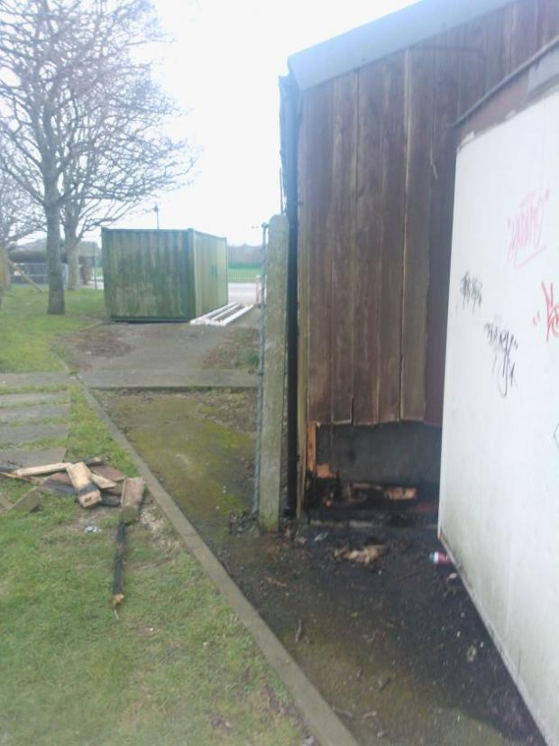 Scene of the fire at the Marsh Sports Ground