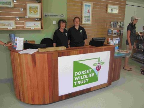 WELCOME: Volunteers Nancy Sheppard and Catherine Brew at the Chesil Beach Centre