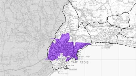 COVER: The area in purple gives an indication of the area covered by commercial providers, and the white areas show where Superfast Dorset will be active