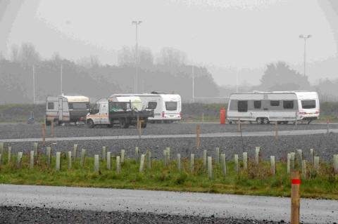 Travellers at the park and ride at Mount Pleasant, Weymouth