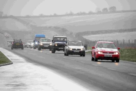 WHEEL COLD: Rush hour traffic on the A354 Ridgeway