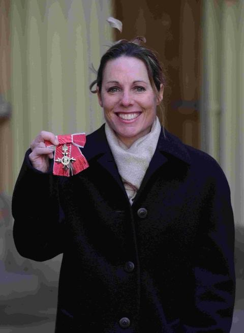 MBE TIME: Helena Lucas at Buckingham Palace with her MBE