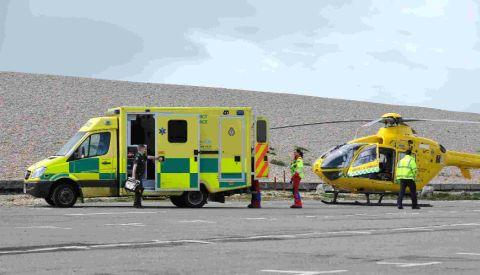 RESCUE BID: Ambulance and air ambulance on Chesil Beach after a man collapsed on Portland