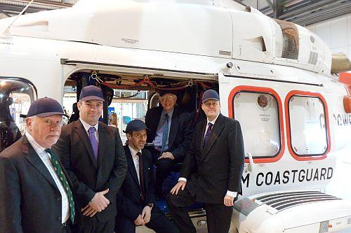 Coun Tim Munro, Francis Devaney of CHC Helicopter Services, Coun Ian Munro-Price, Coun Ian Bruce and MEP Ashley Fox