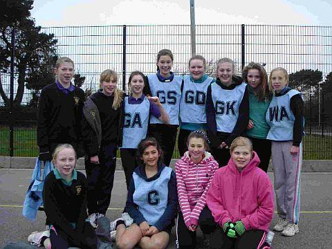 ON COURT: Beaminster School's Year Eight netball team