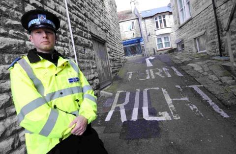 DO THE RIGHT THING: PCSO Jason Newall at the junction at Fortuneswell on Portland where people are illegally turning left