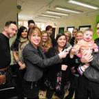 Dorset Echo: DONATION: Colin and Lisa Russ and daughter Scarlett receive £300 from Lynne Stokes and staff at Steven May Hair Design