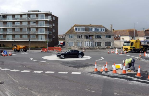 Dorset Echo: The new roundabout at Overcombe Corner in Weymouth branded 'a waste of money'