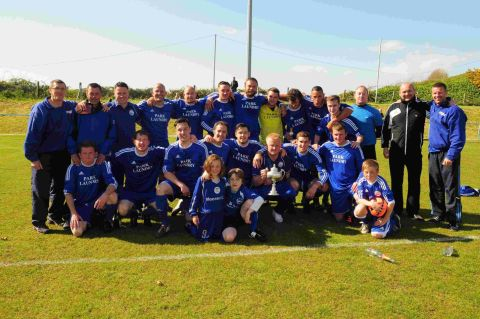 TOP OF THE LEAGUE: Portland United with the Magna Dorset Premier League trophy