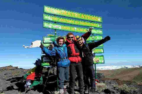ON A HIGH: Ella Mountbatten, Tom Michelmore and Isabella Arnott climb Mount Kilimanjaro for charity