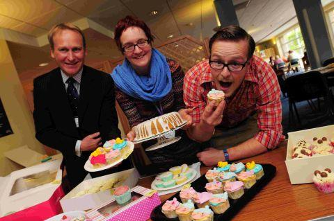 TASTY TREATS:  Mark Power from DCH human resources, head of midwifery Jo Hartley and Toby Frere from No35 Coffee House