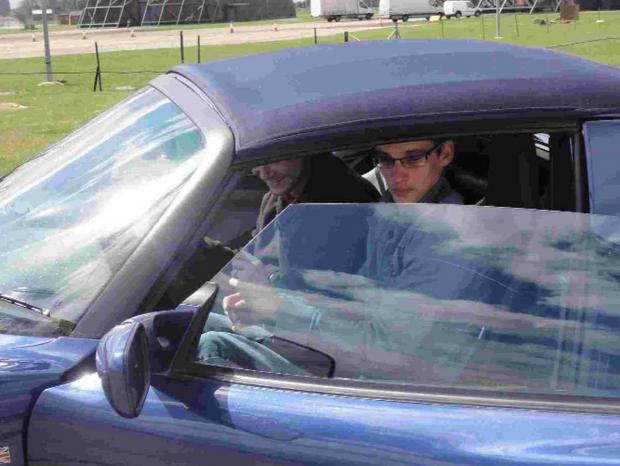 DRIVE TIME: Mark is taken for a spin