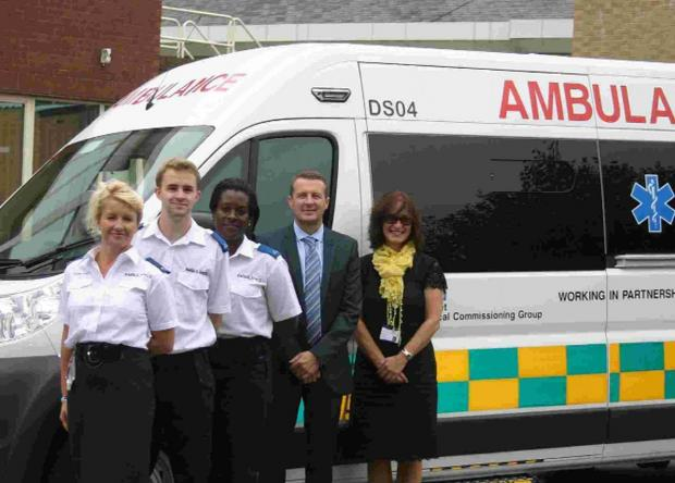 Drivers Karen, Matt and Andrea, Andy Wickenden from E-zec and Sarah Turner from NHS Dorset CCG